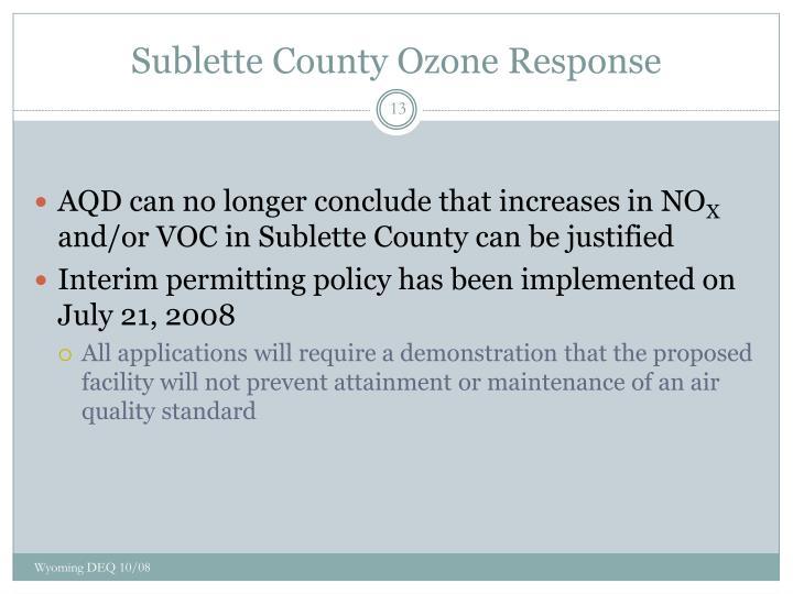Sublette County Ozone Response