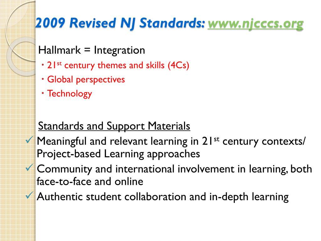 2009 Revised NJ Standards: