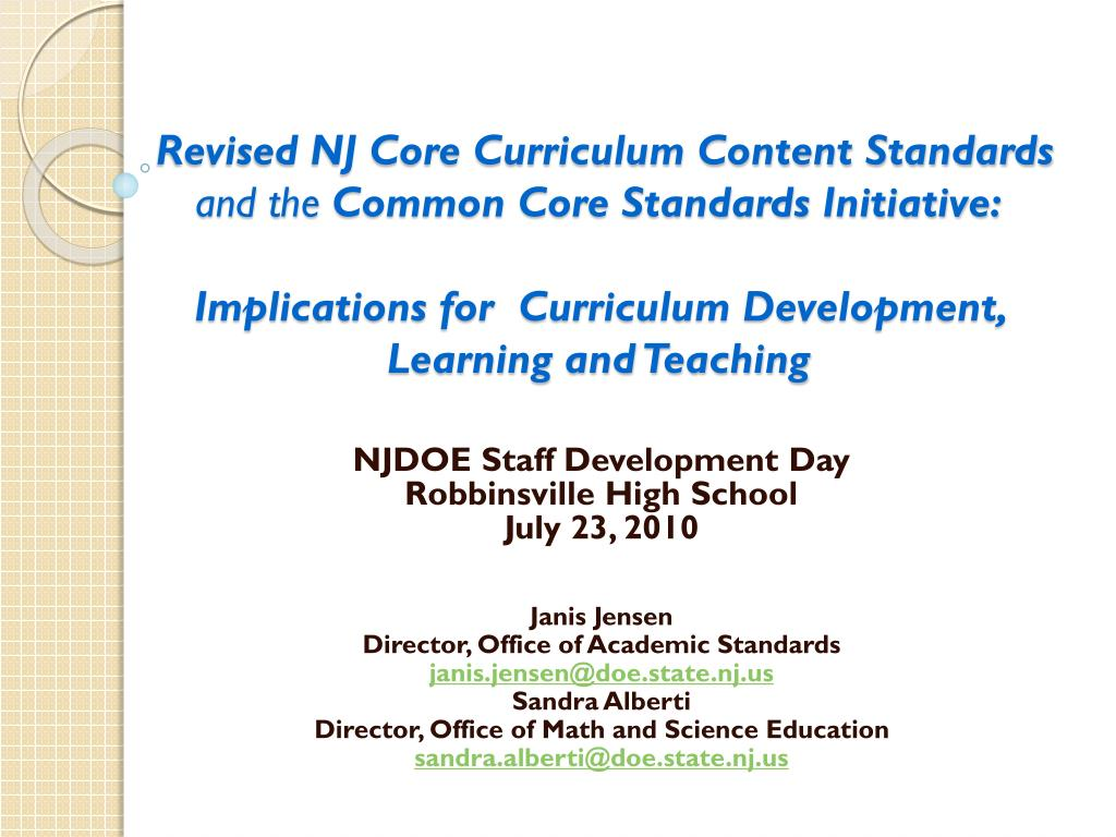 Revised NJ Core Curriculum Content Standards