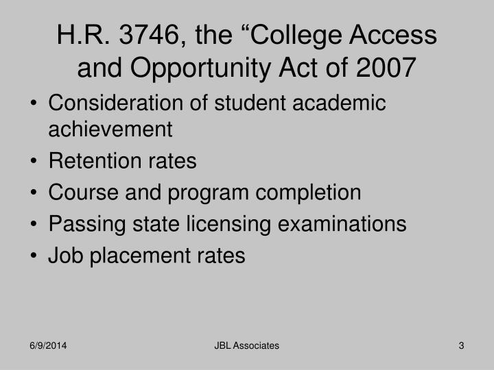 H r 3746 the college access and opportunity act of 2007