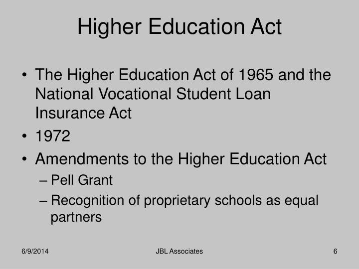 The Higher Education Act of 1965 and the National Vocational Student Loan Insurance Act