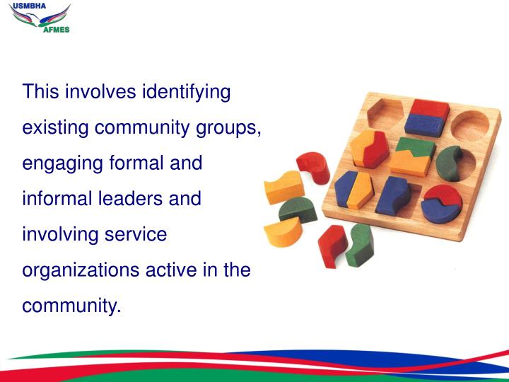 This involves identifying existing community groups, engaging formal and informal leaders and involving service organizations active in the community.
