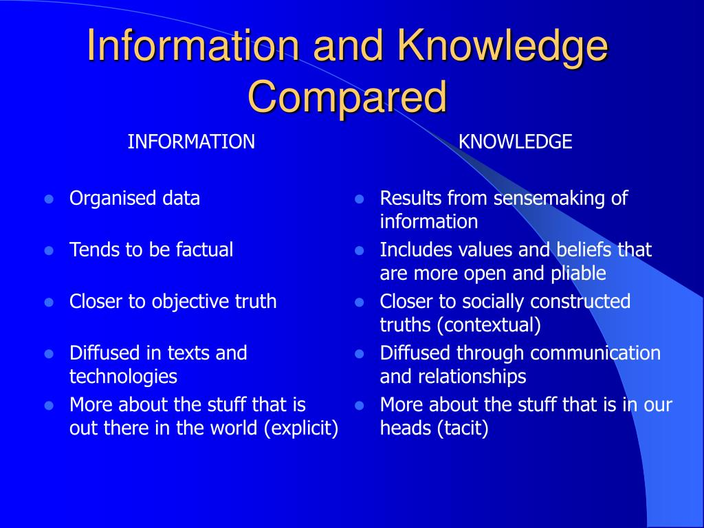 Information and Knowledge Compared