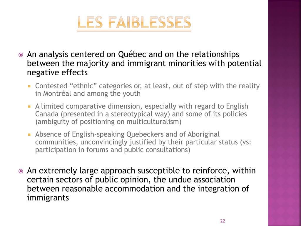 LES FAIBLESSES