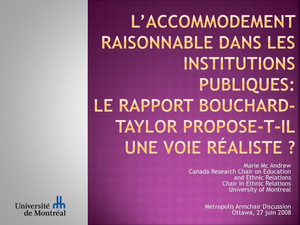 L'ACCOMMODEMENT RAISONNABLE DANS LES INSTITUTIONS PUBLIQUES:
