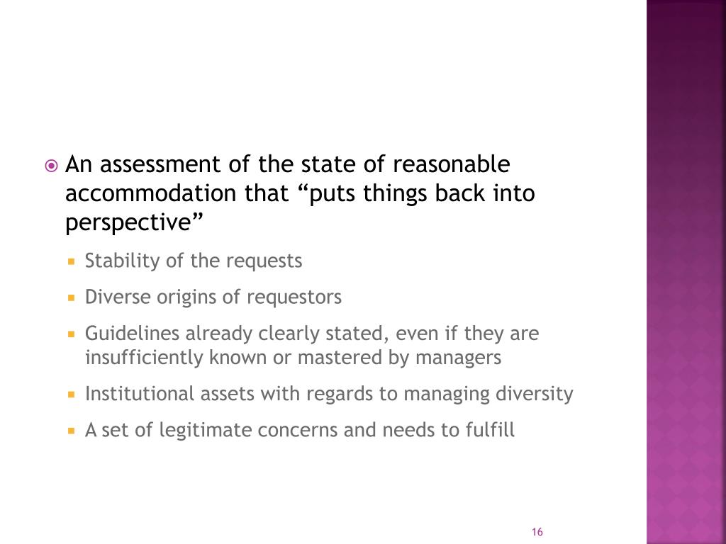 """An assessment of the state of reasonable accommodation that """"puts things back into perspective"""""""