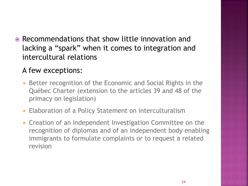 """Recommendations that show little innovation and lacking a """"spark"""" when it comes to integration and intercultural relations"""