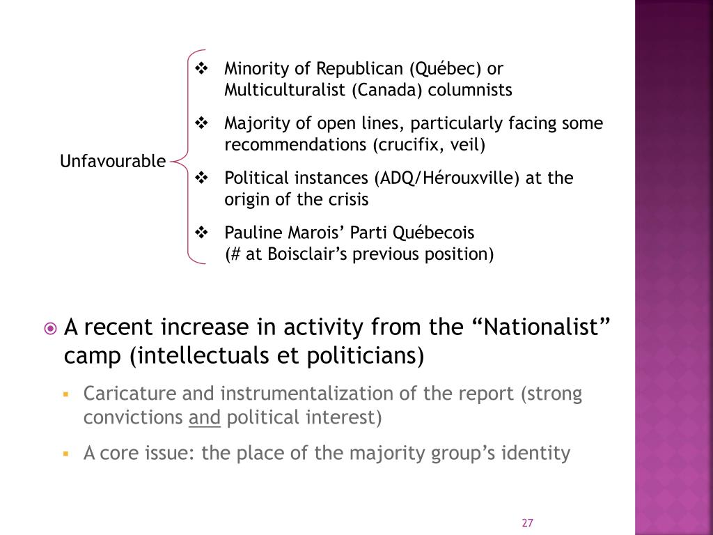 """A recent increase in activity from the """"Nationalist"""" camp (intellectuals et politicians)"""