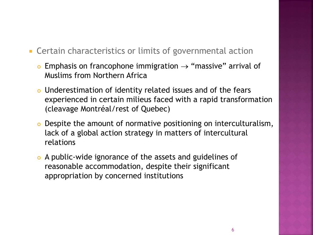 Certain characteristics or limits of governmental action