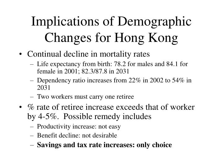 Implications of Demographic Changes for Hong Kong