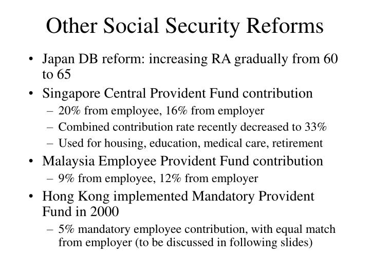 Other Social Security Reforms