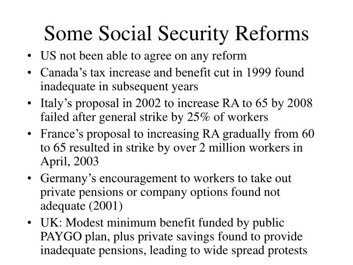 Some Social Security Reforms
