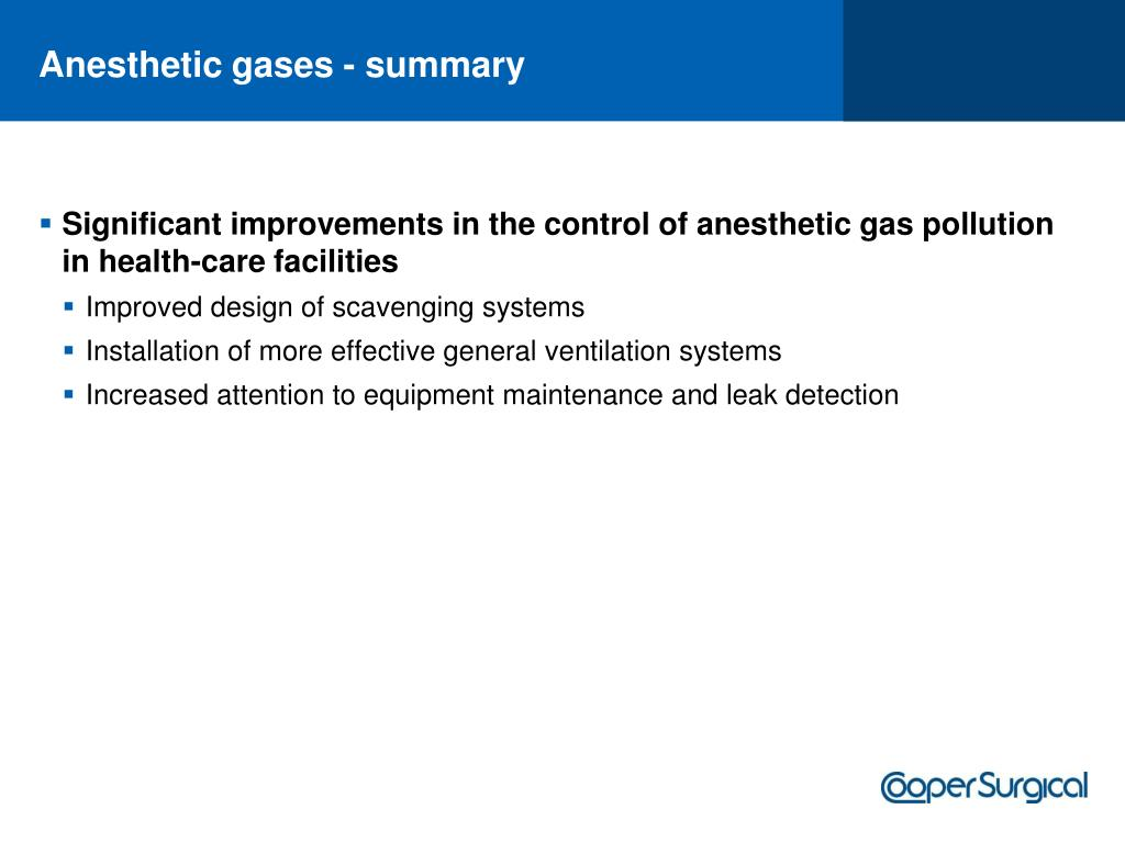 Anesthetic gases - summary