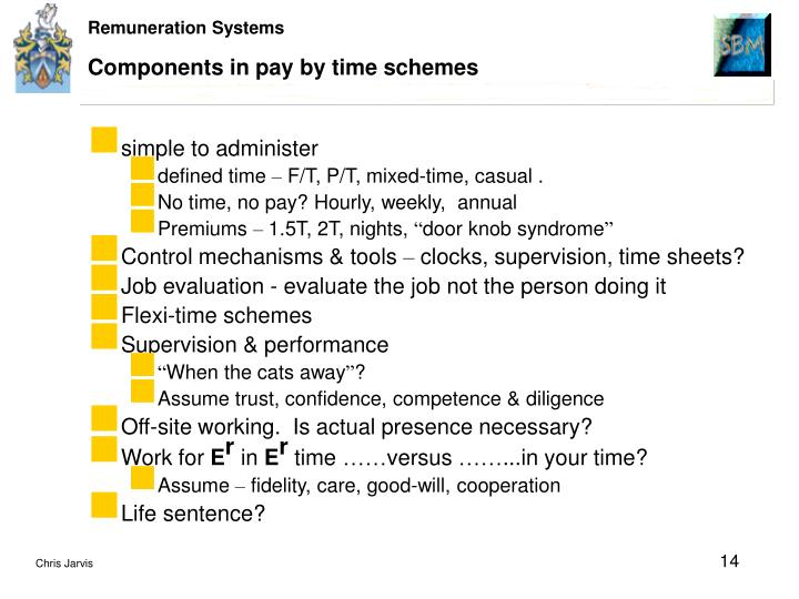 Components in pay by time schemes