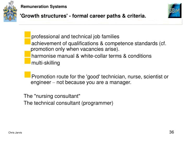 'Growth structures' - formal career paths & criteria.