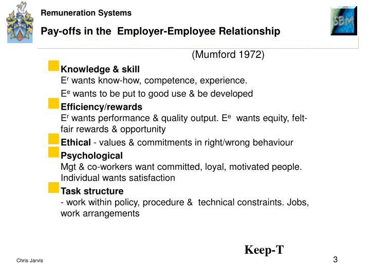 Pay offs in the employer employee relationship