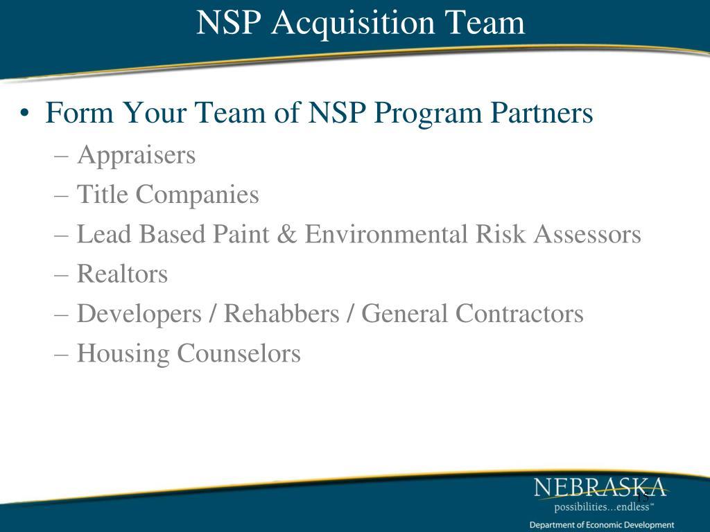 NSP Acquisition Team