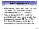 pre deployment