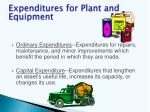 expenditures for plant and equipment