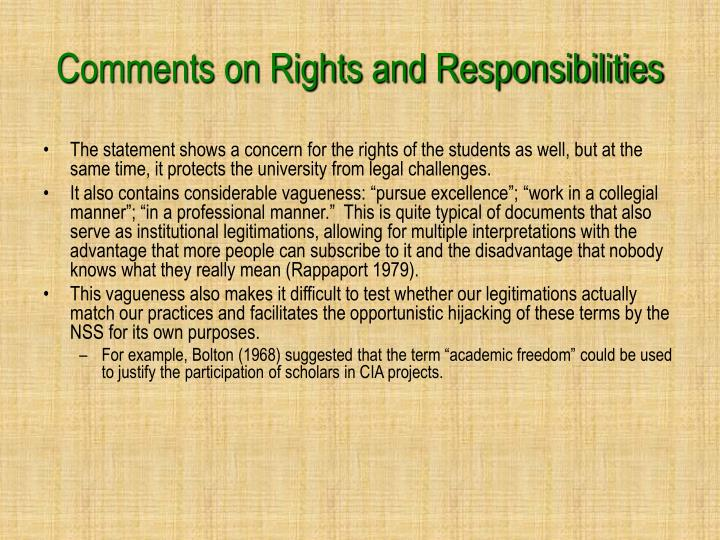 Comments on Rights and Responsibilities