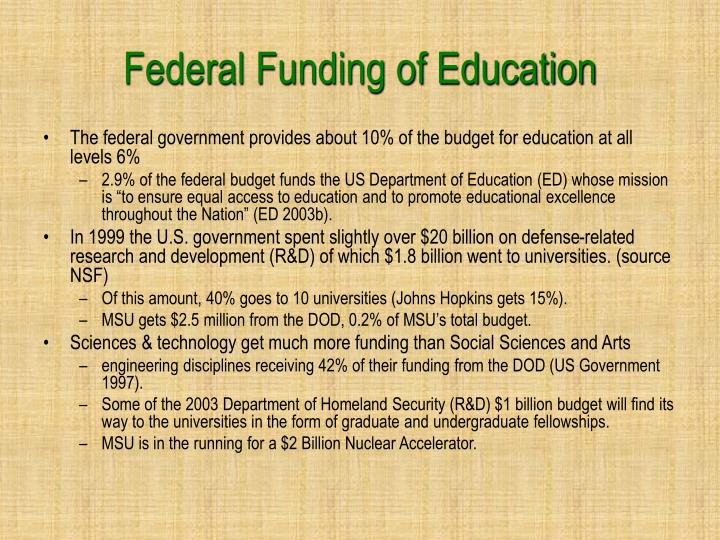 Federal Funding of Education