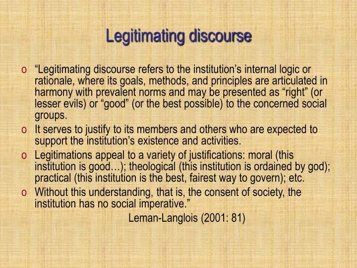 Legitimating discourse