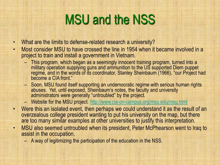 MSU and the NSS