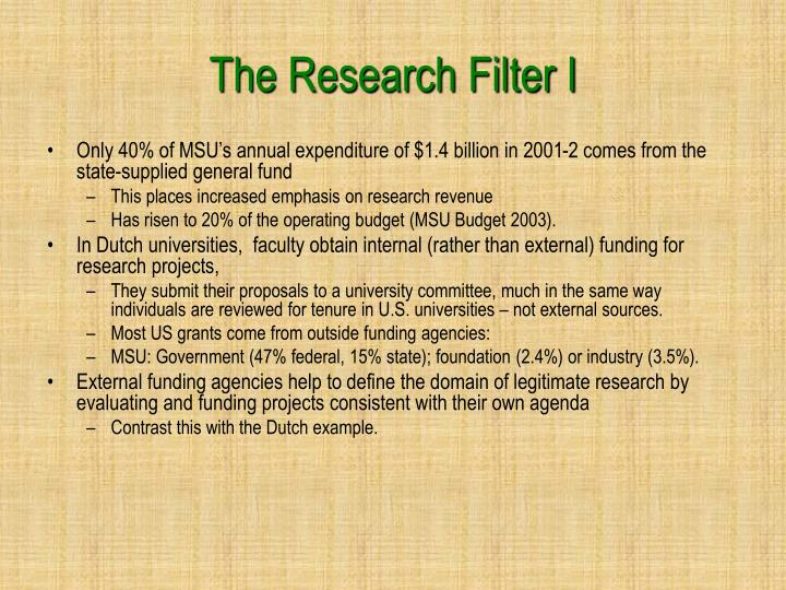 The Research Filter I
