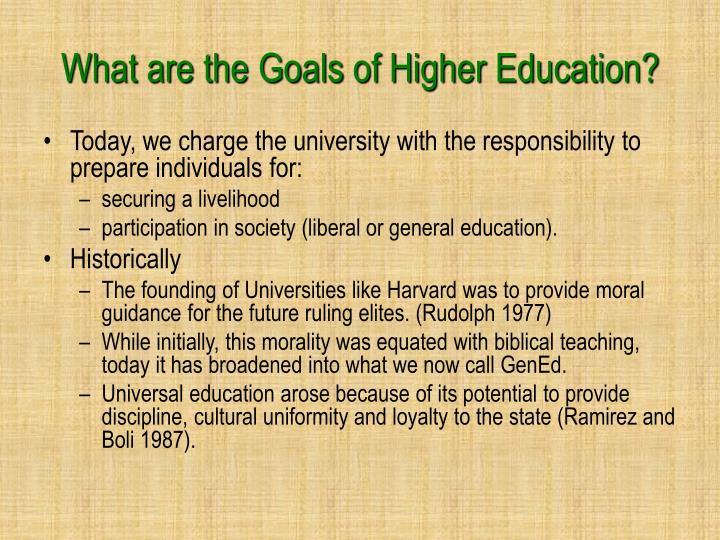 What are the Goals of Higher Education?