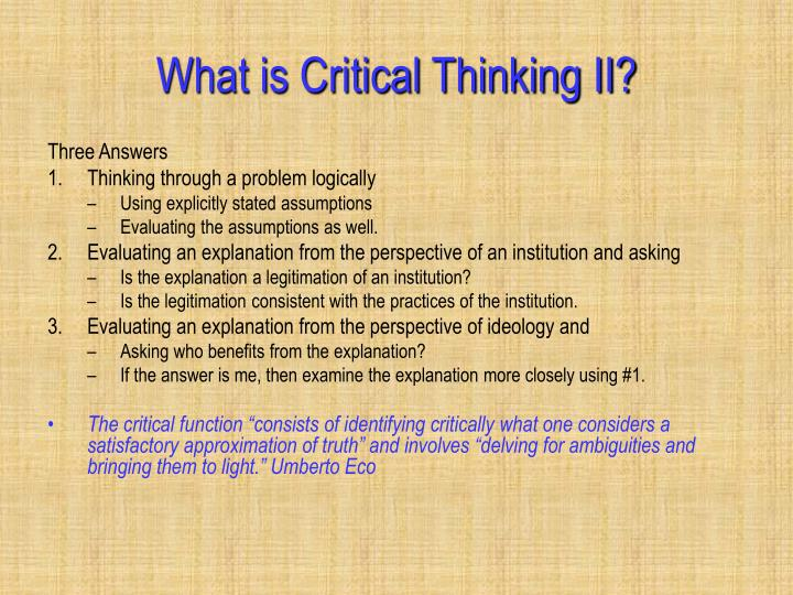 What is Critical Thinking II?