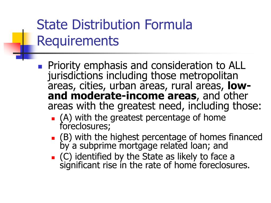 State Distribution Formula Requirements