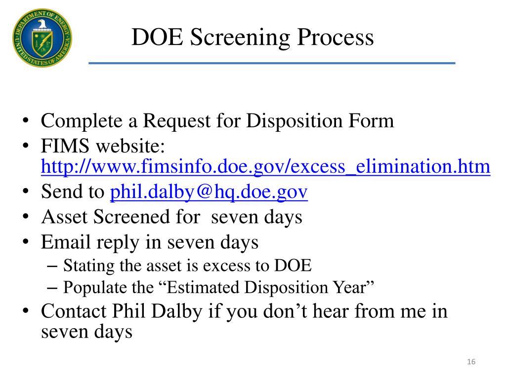 DOE Screening Process