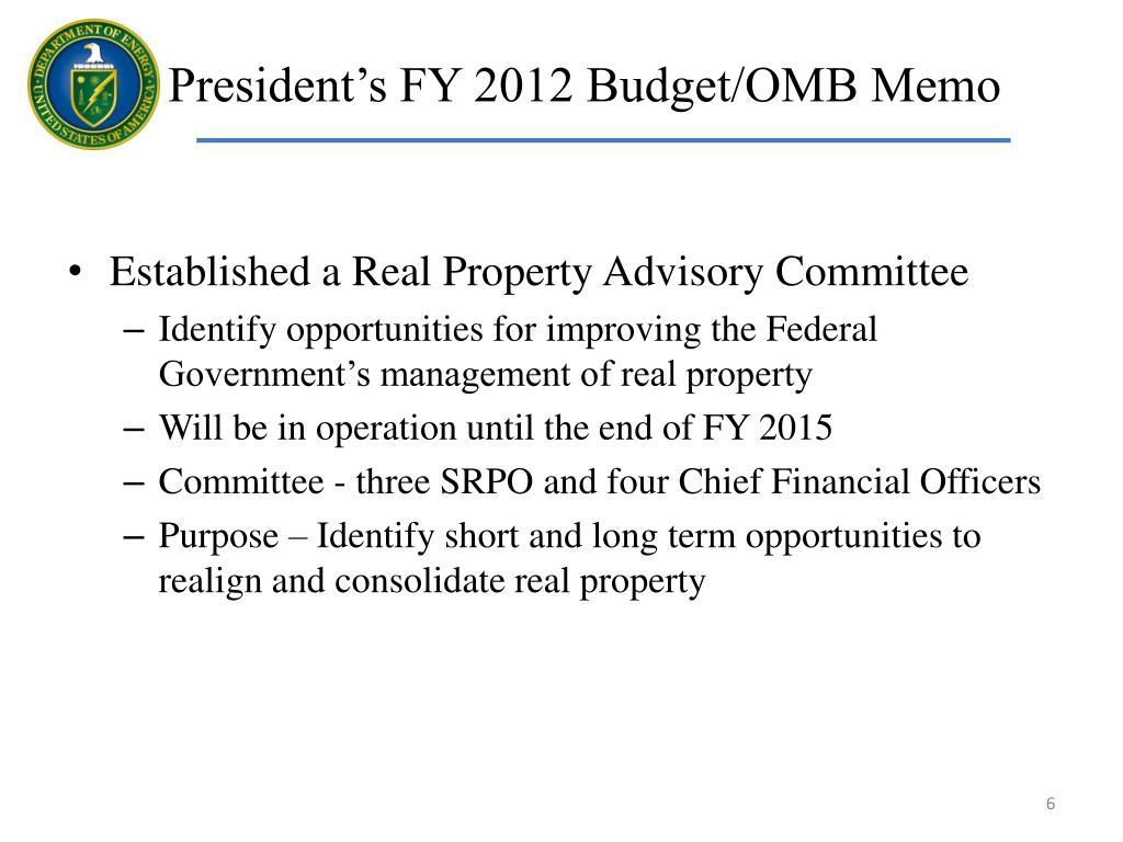 President's FY 2012 Budget/OMB Memo