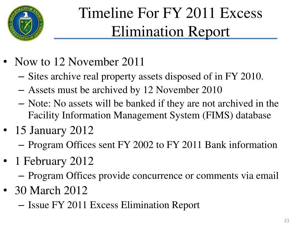 Timeline For FY 2011 Excess Elimination Report