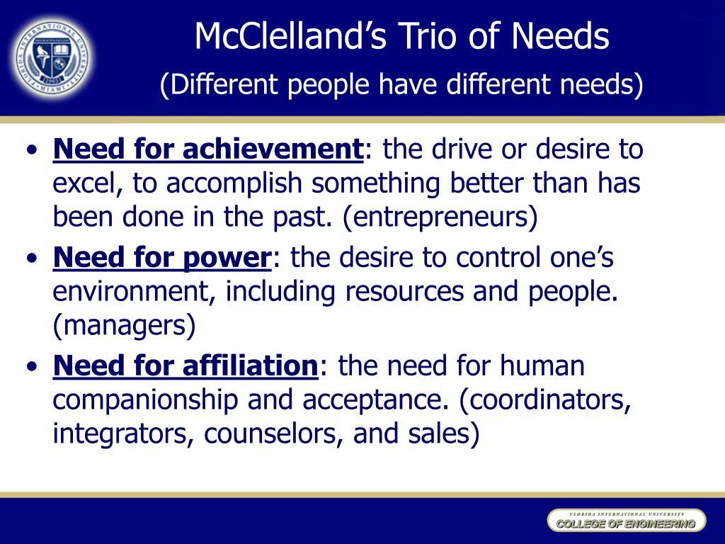 McClelland's Trio of Needs