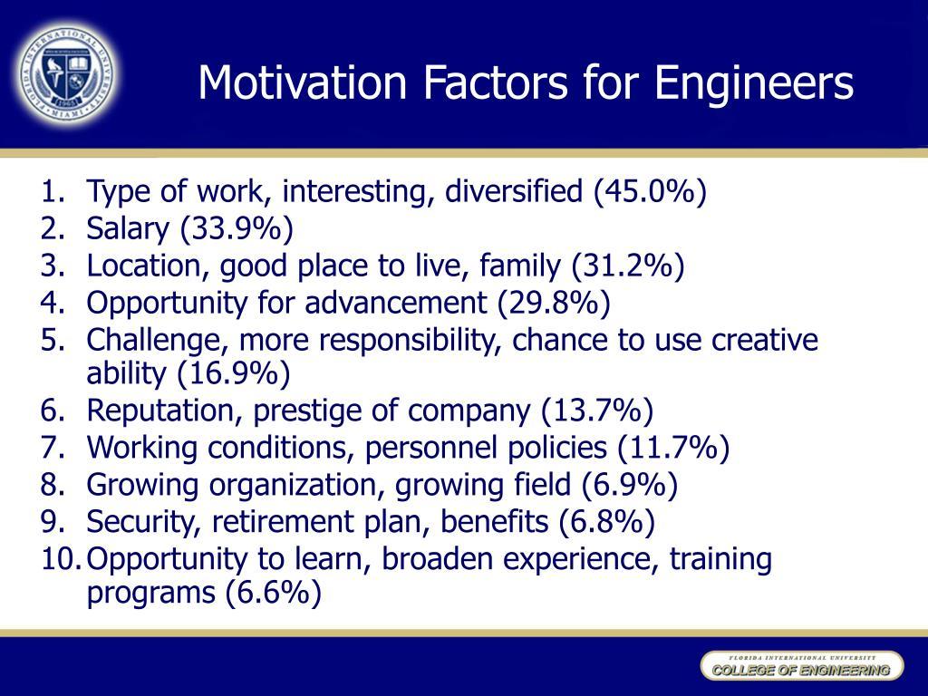 Motivation Factors for Engineers