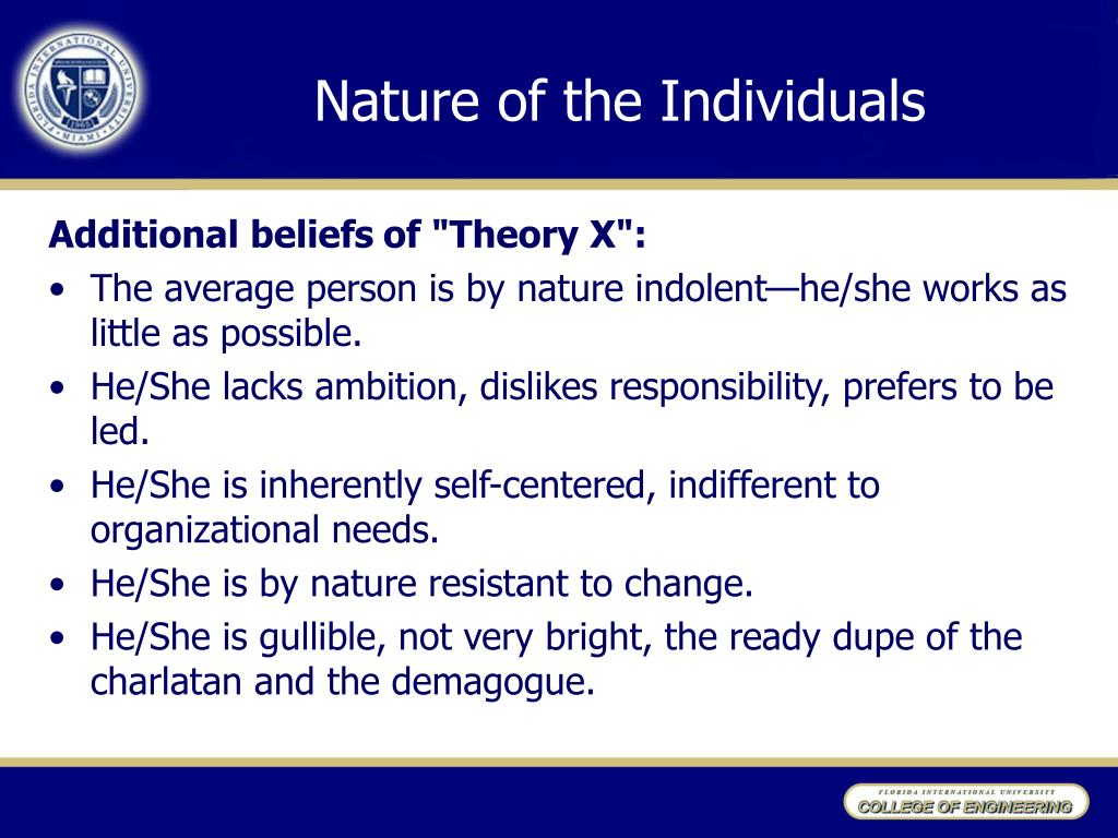 Nature of the Individuals