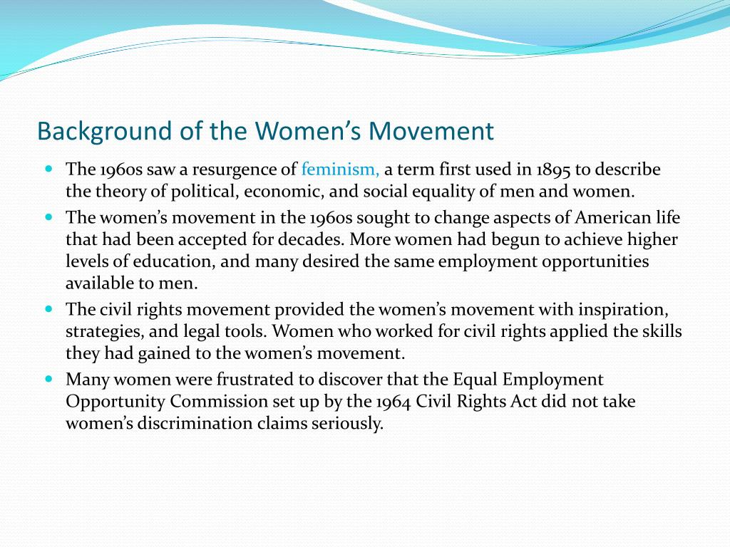 Background of the Women's Movement