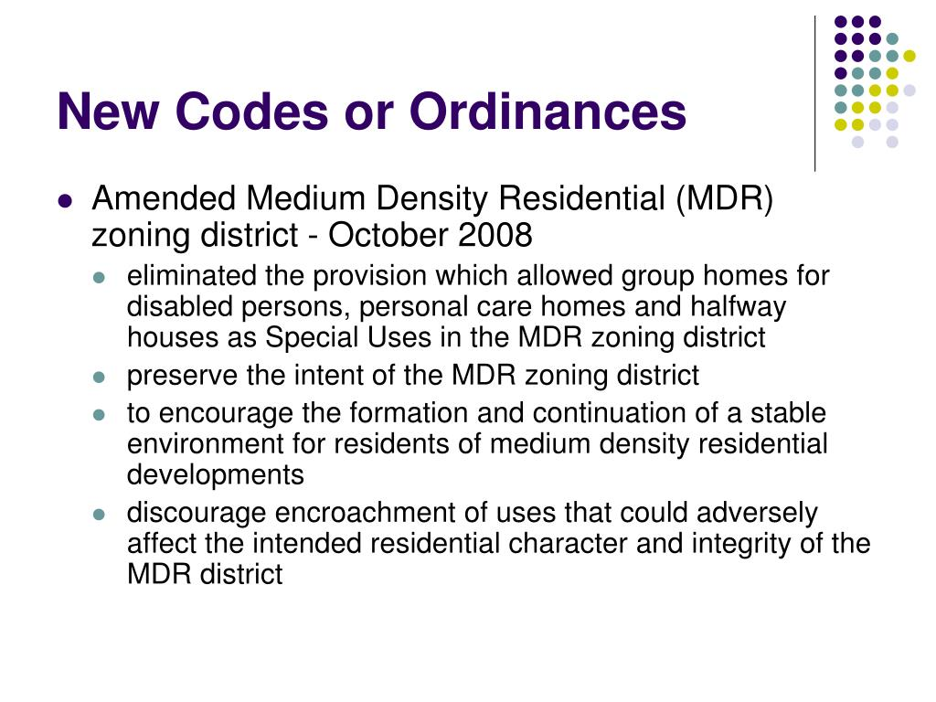 New Codes or Ordinances