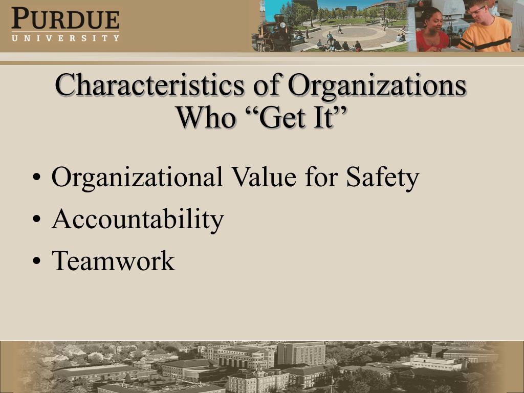 "Characteristics of Organizations Who ""Get It"""