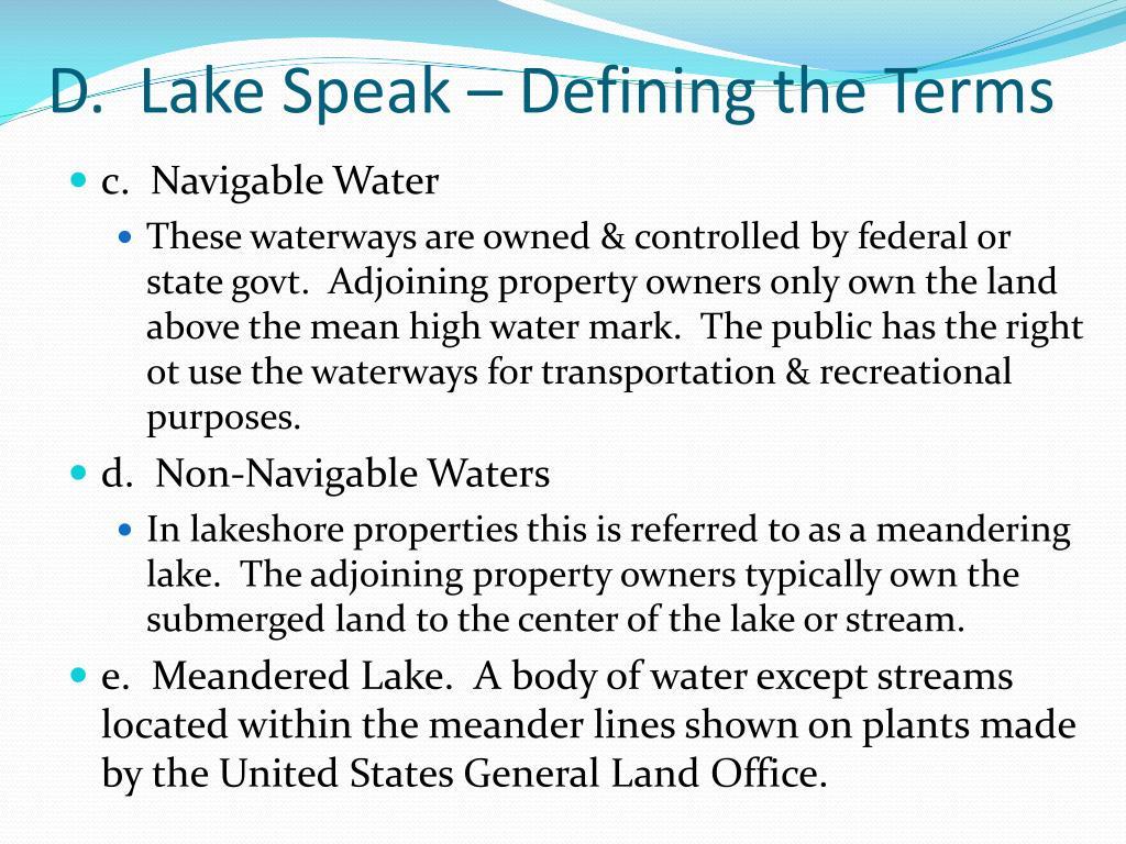 D.  Lake Speak – Defining the Terms
