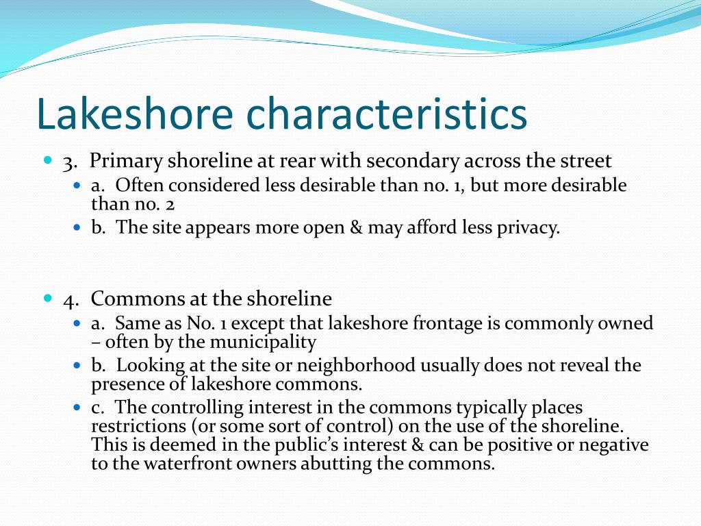 Lakeshore characteristics