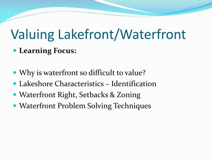 Valuing lakefront waterfront