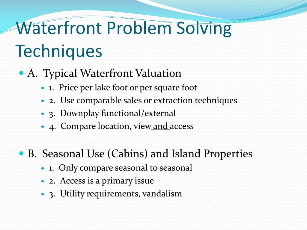 Waterfront Problem Solving Techniques