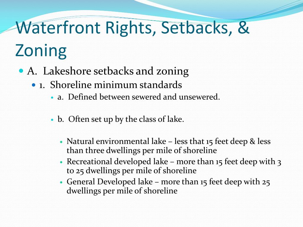 Waterfront Rights, Setbacks, & Zoning