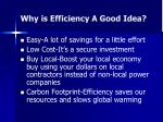 why is efficiency a good idea