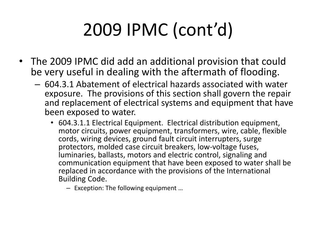 2009 IPMC (cont'd)