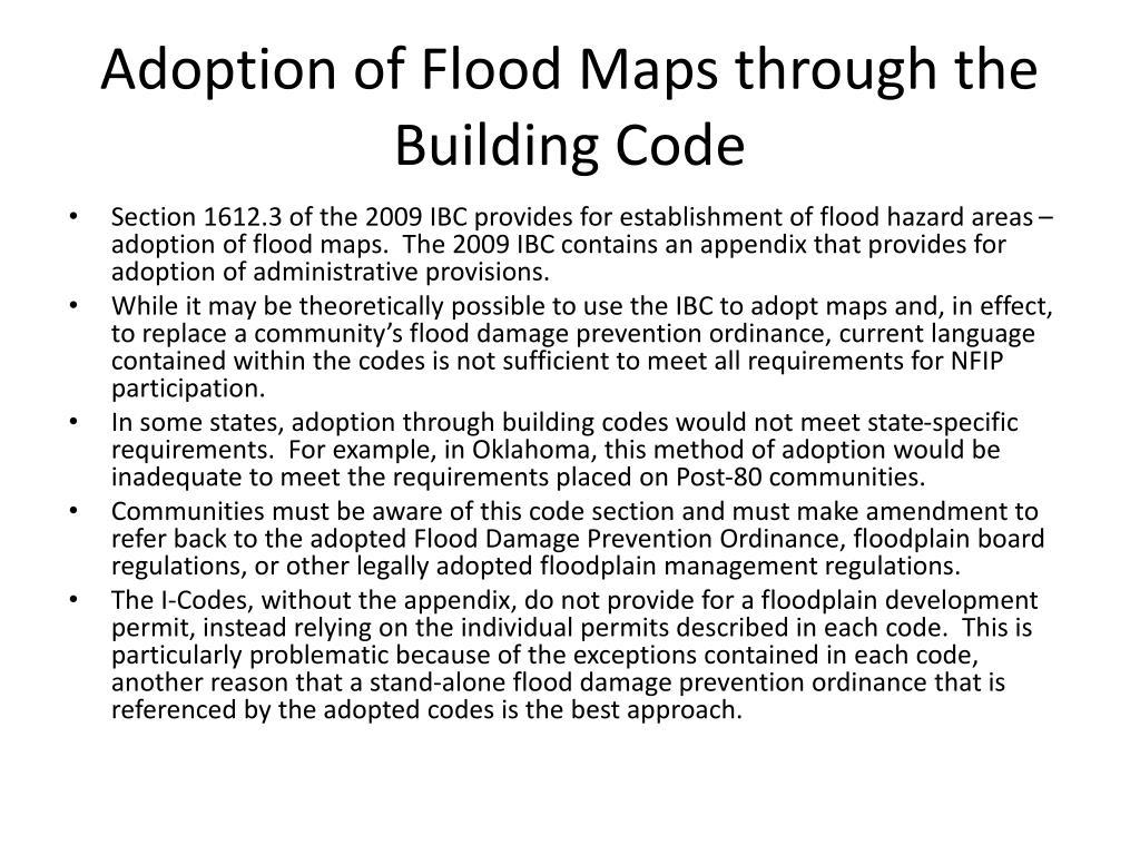 Adoption of Flood Maps through the Building Code