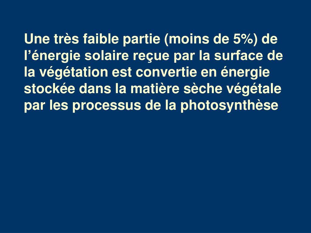 Une très faible partie (moins de 5%) de l'énergie solaire reçue par la surface de la végétation est convertie en énergie stockée dans la matière sèche végétale par les processus de la photosynthèse
