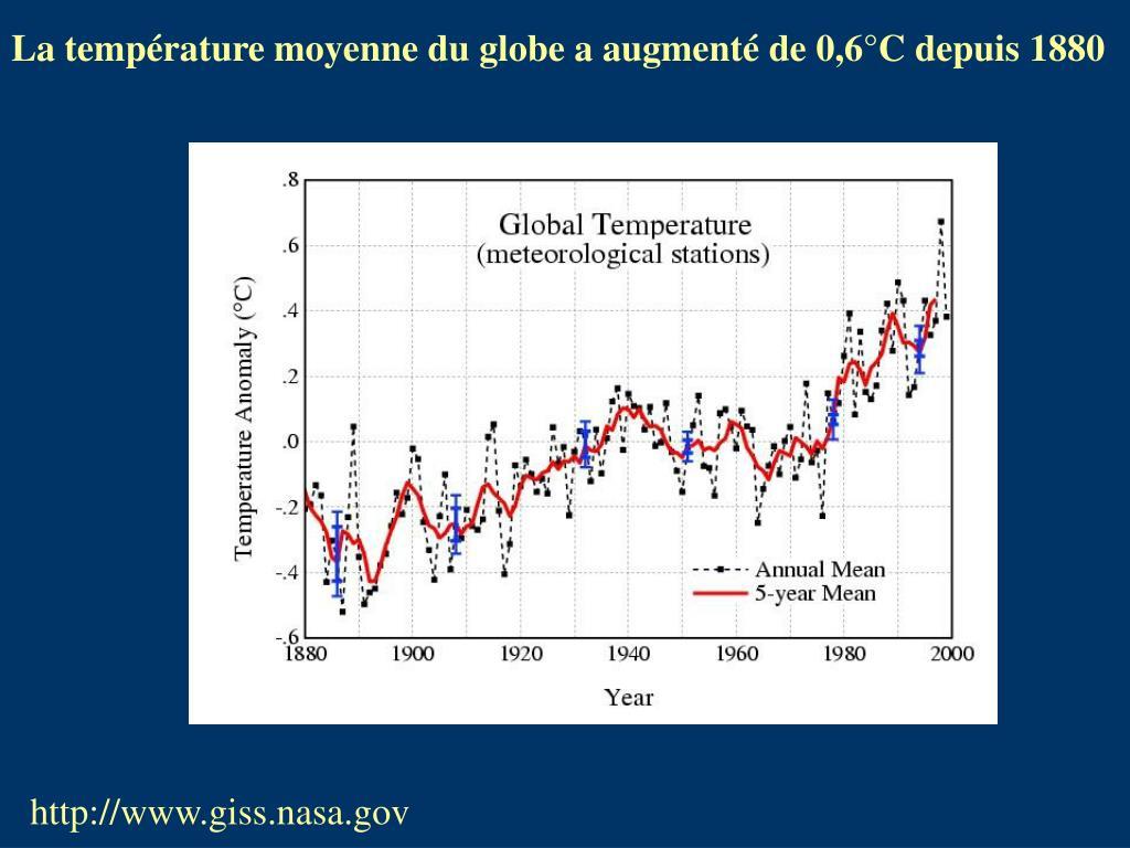 La température moyenne du globe a augmenté de 0,6°C depuis 1880
